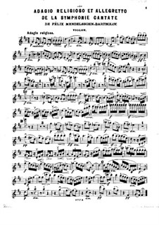 Sinfonie Nr.2 in B-Dur 'Lobgesang', Op.52: Adagio religioso und Allegretto, für Klaviertrio – Violinstimme by Felix Mendelssohn-Bartholdy