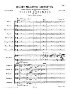 Konzert-Allegro mit Introduktion, Op.134: Vollpartitur by Robert Schumann