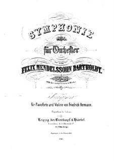 Sinfonie Nr.4 in A-Dur 'Italienische', Op.90: Version für Violine und Klavier by Felix Mendelssohn-Bartholdy