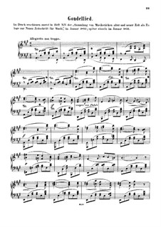 Gondellied, WoO 10: Für Klavier by Felix Mendelssohn-Bartholdy