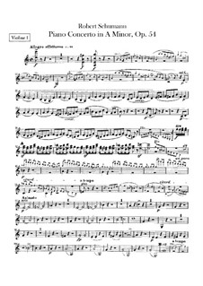 Konzert für Klavier und Orchester in a-Moll, Op.54: Violinstimmen by Robert Schumann