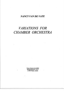 Variations for Chamber Orchestra: Vollpartitur by Nancy Van de Vate