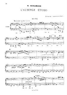 Waldscenen: Nr.6 Herberge, für Klavier, vierhändig by Robert Schumann