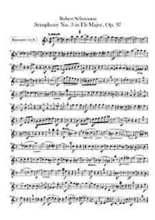Sinfonie Nr.3 in Es-Dur 'Rheinische', Op.97: Klarinettenstimmen by Robert Schumann