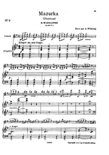 Zwei Mazurkas, Op.19: Mazurka Nr.1 Obertas by Henryk Wieniawski