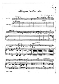 Allegro de sonate for Violin and Piano, Op.2: Partitur by Henryk Wieniawski, Józef Wieniawski