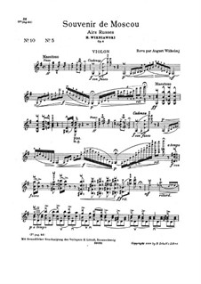 Souvenir de Moscou for Violin and Piano, Op.6: Solostimme by Henryk Wieniawski