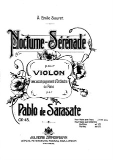 Nocturne-Serenade, Op.45: Partitur by Pablo de Sarasate