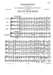 Begräbnislied, für vier Singstimmen und Klavier, D.168: Begräbnislied, für vier Singstimmen und Klavier by Franz Schubert