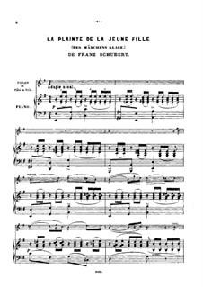 Des Mädchens Klage, D.191 Op.58 No.3: Für Violine (oder Flöte, oder Cello) und Klavier by Franz Schubert