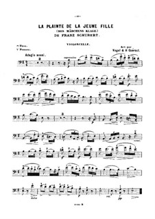 Des Mädchens Klage, D.191 Op.58 No.3: Für Violine (oder Flöte, oder Cello) und Klavier – Cellostimme by Franz Schubert