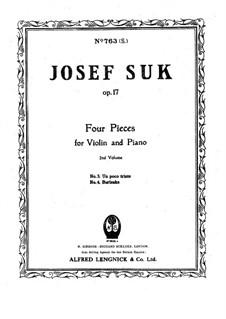 Vier Stücke für Violine und Klavier, Op.17: Nr.4 Burleske by Josef Suk