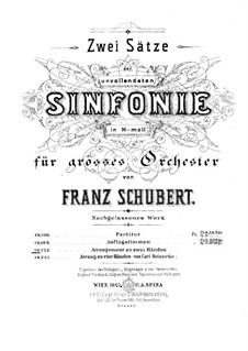 Sinfonie Nr.8 in h-Moll 'Unvollendete', D.759: Bearbeitung für Klavier by Franz Schubert