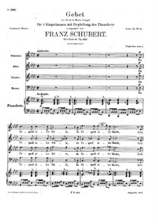 Gebet, D.815 Op.139: Klavierauszug mit Singstimmen by Franz Schubert