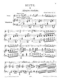 Suite Nr.1, Op.44: Für Violine und Klavier – Partitur by Eduard Schütt