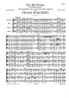 Psalm Nr.92 für Solist und Chor, D.953: Psalm Nr.92 für Solist und Chor by Franz Schubert