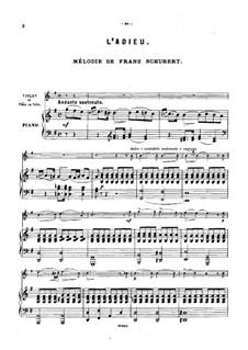Lebewohl: Version für Violine (oder Flöte, oder Cello) und Klavier by Franz Schubert