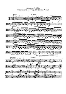 Sinfonie Nr.3 in c-Moll 'Le divin poème', Op.43: Violastimme by Alexander Skrjabin