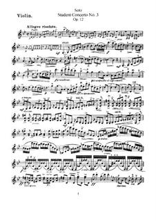 Schülerkonzert Nr.3 für Violine und Klavier, Op.12: Solostimme by Friedrich Seitz