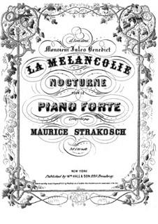 La melancholie: La melancholie by Moritz Strakosch