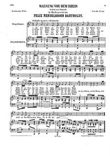 Warnung vor dem Rhein, WoO 16: Klavierauszug mit Singstimmen by Felix Mendelssohn-Bartholdy
