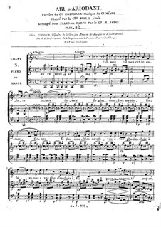 Ariodant: Calmez, calmez cette colère, for Voice and Piano (or Harp) by Étienne Méhul