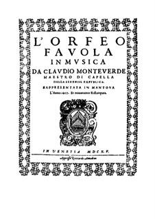 L'Orfeo, SV 318: Partitur by Claudio Monteverdi