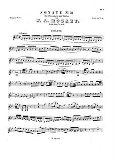 Sonate für Violine und Klavier in B-Dur, K.372: Allegro – Solo Stimme by Wolfgang Amadeus Mozart