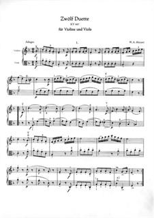 Zwölf Duette für zwei Hörner, K.487: Version für Violine und Bratsche by Wolfgang Amadeus Mozart