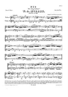 Zwölf Duette für zwei Hörner, K.487: Duette Nr.1, 3, 6. Version für zwei Violinen by Wolfgang Amadeus Mozart
