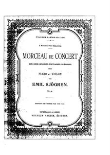 Konzertstück für Violine und Klavier, Op.45: Partitur by Emil Sjögren