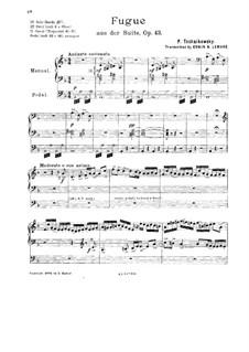 Suite Nr.1 in d-Moll, TH 31 Op.43: Nr.1 Introduktion und Fuge, für Orgel by Pjotr Tschaikowski