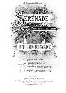 Serenade für Streichorchester, TH 48 Op.48: Bearbeitung für zwei Klaviere, achthändig – Klavierstimme I by Pjotr Tschaikowski