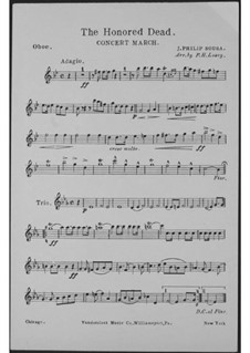 The Honored Dead. Concert March: Oboenstimme by John Philip Sousa