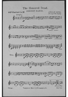 The Honored Dead. Concert March: Klarinettenstimme II by John Philip Sousa