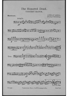 The Honored Dead. Concert March: Fagottstimme by John Philip Sousa