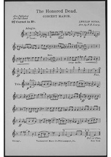 The Honored Dead. Concert March: Cornet I part by John Philip Sousa