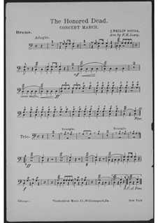 The Honored Dead. Concert March: Bass drum part by John Philip Sousa