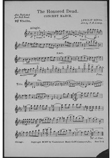 The Honored Dead. Concert March: Violinstimme I by John Philip Sousa