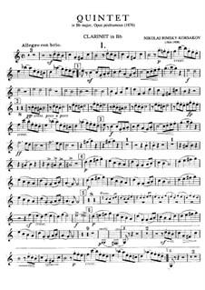 Klavierquintett in B-Dur: Klarinettenstimme by Nikolai Rimsky-Korsakov