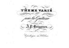 Thema und Variationen für Gitarre: Thema und Variationen für Gitarre by Andreas Peter Berggreen