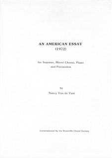 An American Essay: Score for piano version by Nancy Van de Vate