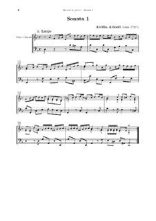 Sonaten für Viola d'amore und Basso Continuo: Partitur by Attilio Ariosti
