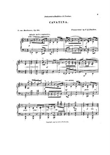 Streichquartett Nr.13 in B-Dur, Op.130: Kavatine. Bearbeitung für Klavier by Ludwig van Beethoven