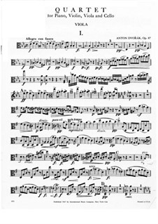 Klavierquartett Nr.2 in Es-Dur, B.162 Op.87: Violastimme by Antonín Dvořák