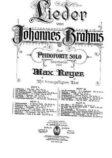 Ausgewählte Lieder: Heft III, für Klavier by Johannes Brahms