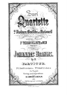 Streichquartett Nr.2 in a-Moll, Op.51: Partitur by Johannes Brahms