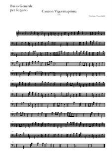 Canzon Vigesimaprima: Basso continuo by Girolamo Frescobaldi