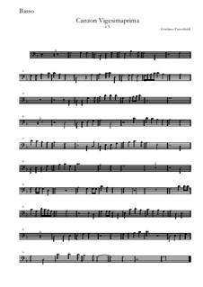 Canzon Vigesimaprima: Basso by Girolamo Frescobaldi