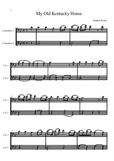 My Old Kentucky Home Good-Night: For two double basses by Stephen Foster